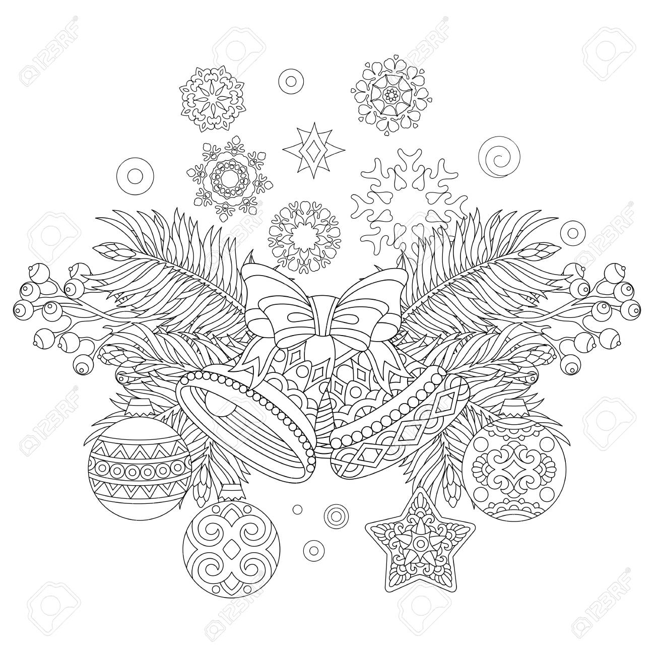 Coloring Page With Christmas Decorations Fir Tree Jingle Bells Balls Vintage