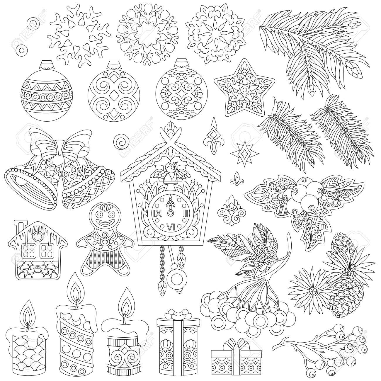 Décorations De Noël Coloriage Déléments De Décor Rétro Vintage