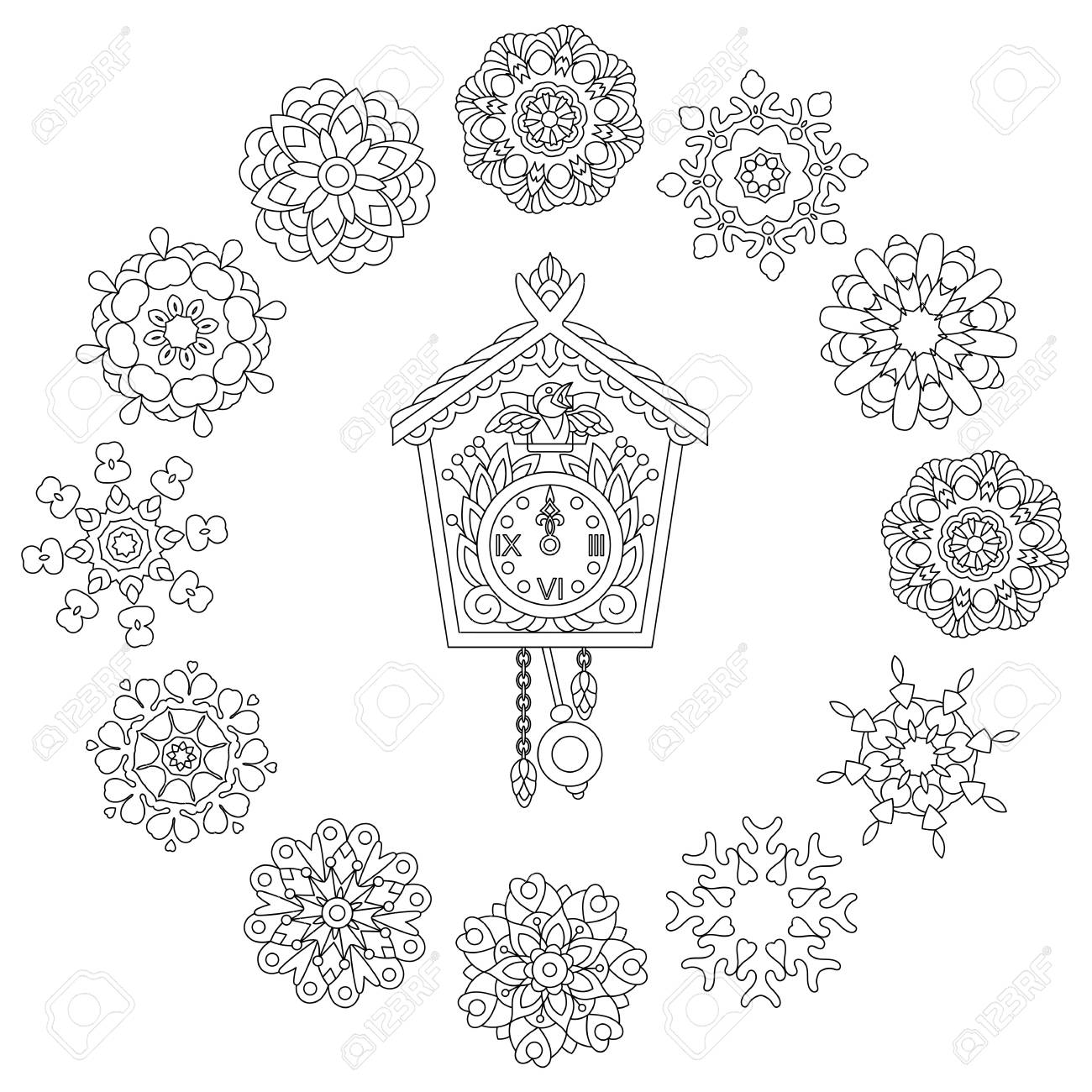 Christmas Coloring Page With Old Antique Wall Clock And Cuckoo ...