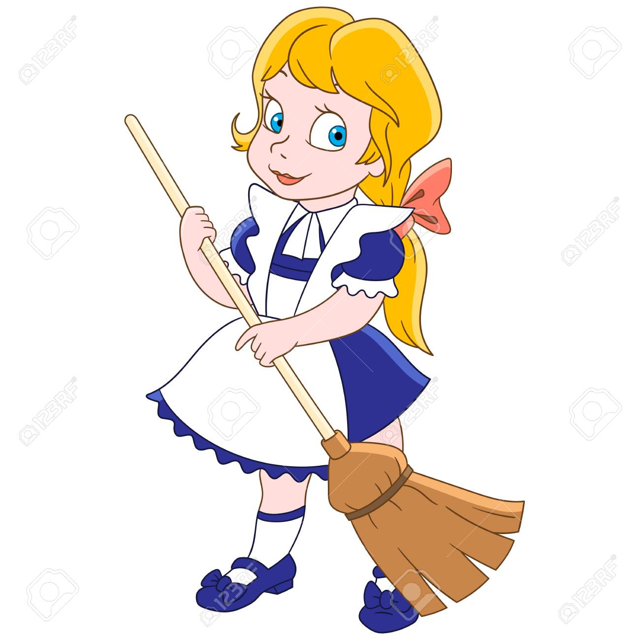 cartoon young girl sweeping the floor with a broom colorful royalty free cliparts vectors and stock illustration image 91423432 cartoon young girl sweeping the floor with a broom colorful