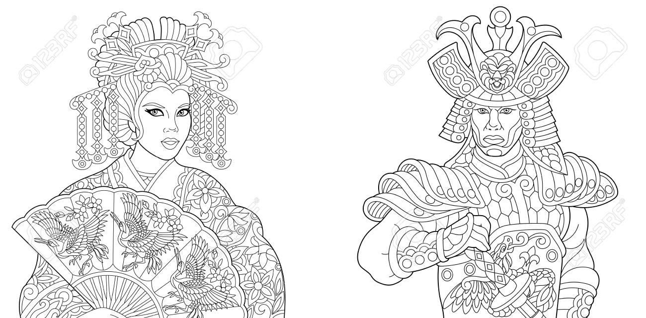 Coloriage Anti Stress Danse.Livre De Coloriage Coloriage Geisha Actrice De Danse Orientale Tenant Un Eventail De Papier Avec Des Oiseaux De Grue Samourai Japonais Avec Epee