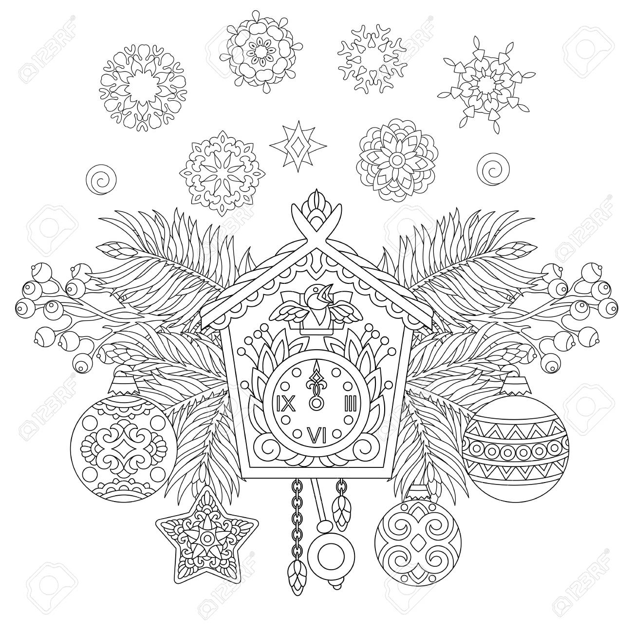christmas coloring page holiday hanging decorations and fir tree branches around wall cuckoo clock
