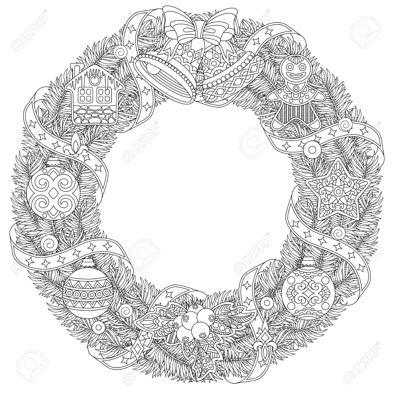 Corona De La Puerta De Navidad Página Para Colorear Con Adornos Navideños Y Decoraciones Dibujo De Bosquejo A Mano Alzada Para La Tarjeta De