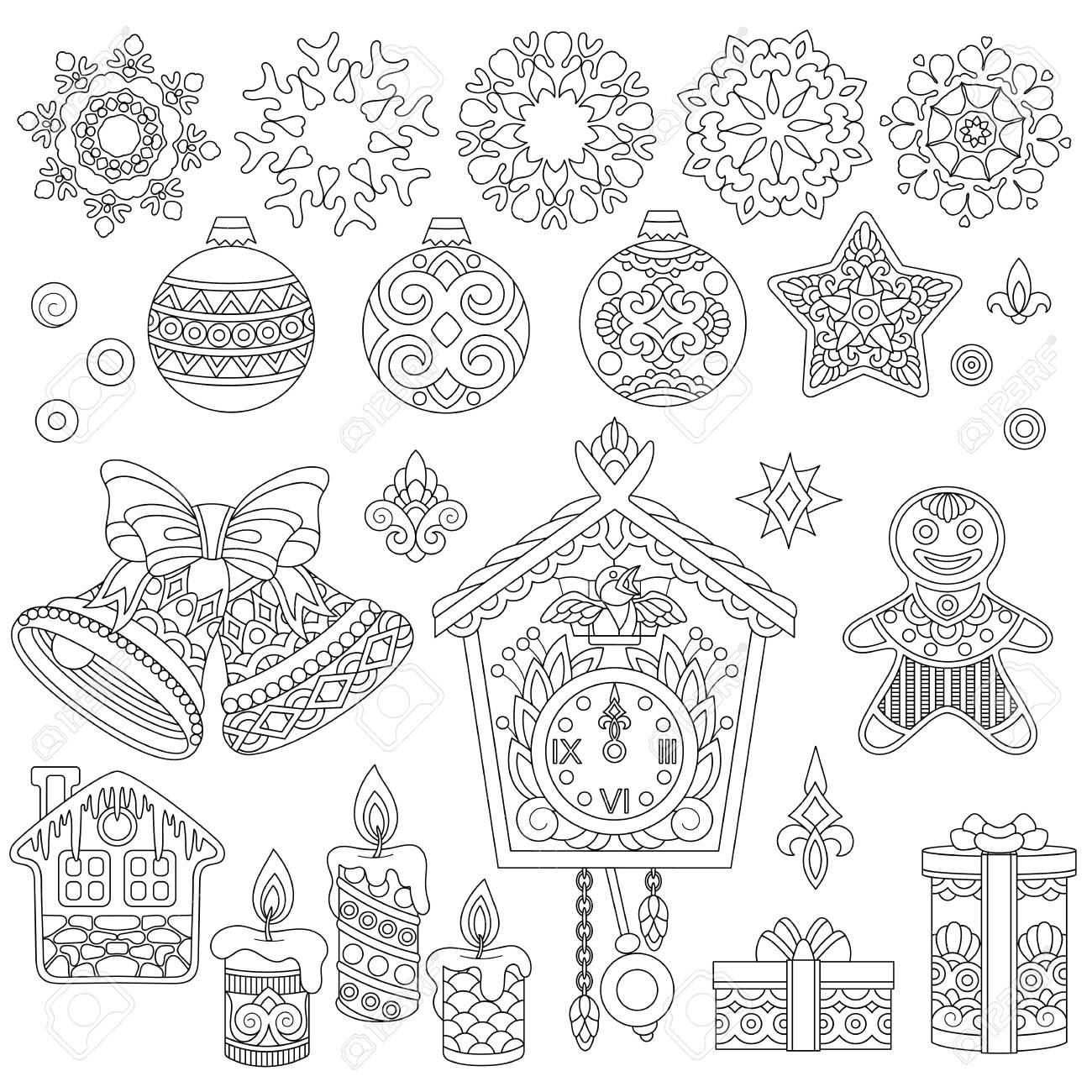 Adornos De Navidad Doodle Página Para Colorear Con Colección De Decoraciones Navideñas Para 2018 Feliz Año Nuevo Tarjeta De Felicitación O Adulta