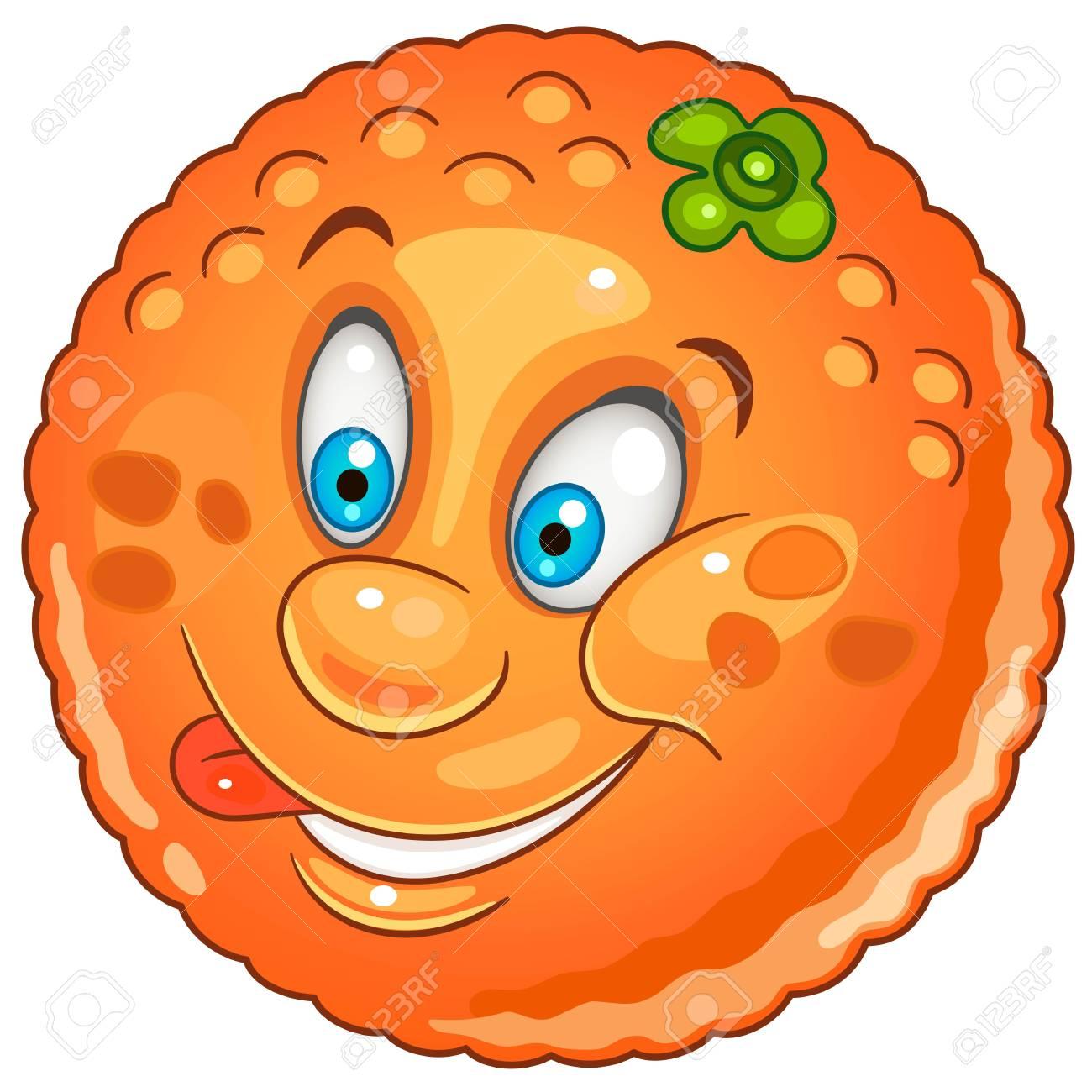 Dibujos Animados Icono De Cítricos Naranja Carácter De Frutas Para