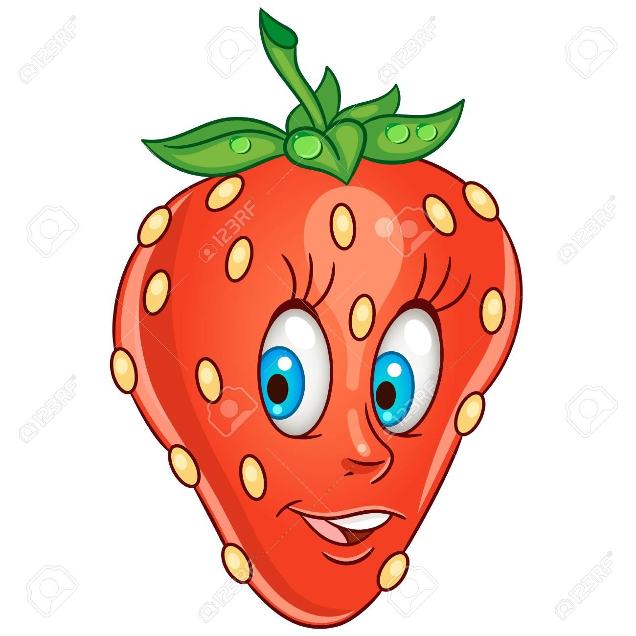 Icono De Dibujos Animados Fresa Carácter De Frutas Para Colorear