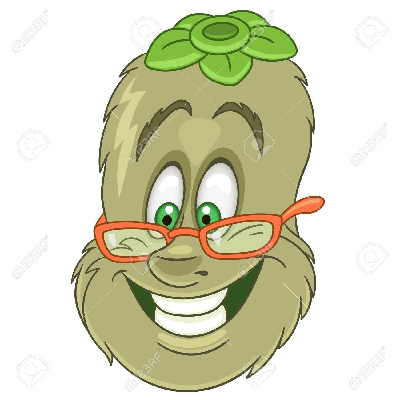 Coloriage Kiwi Fruit.Personnage De Dessin Anime Kiwi Symbole De Fruits Heureux Icone De