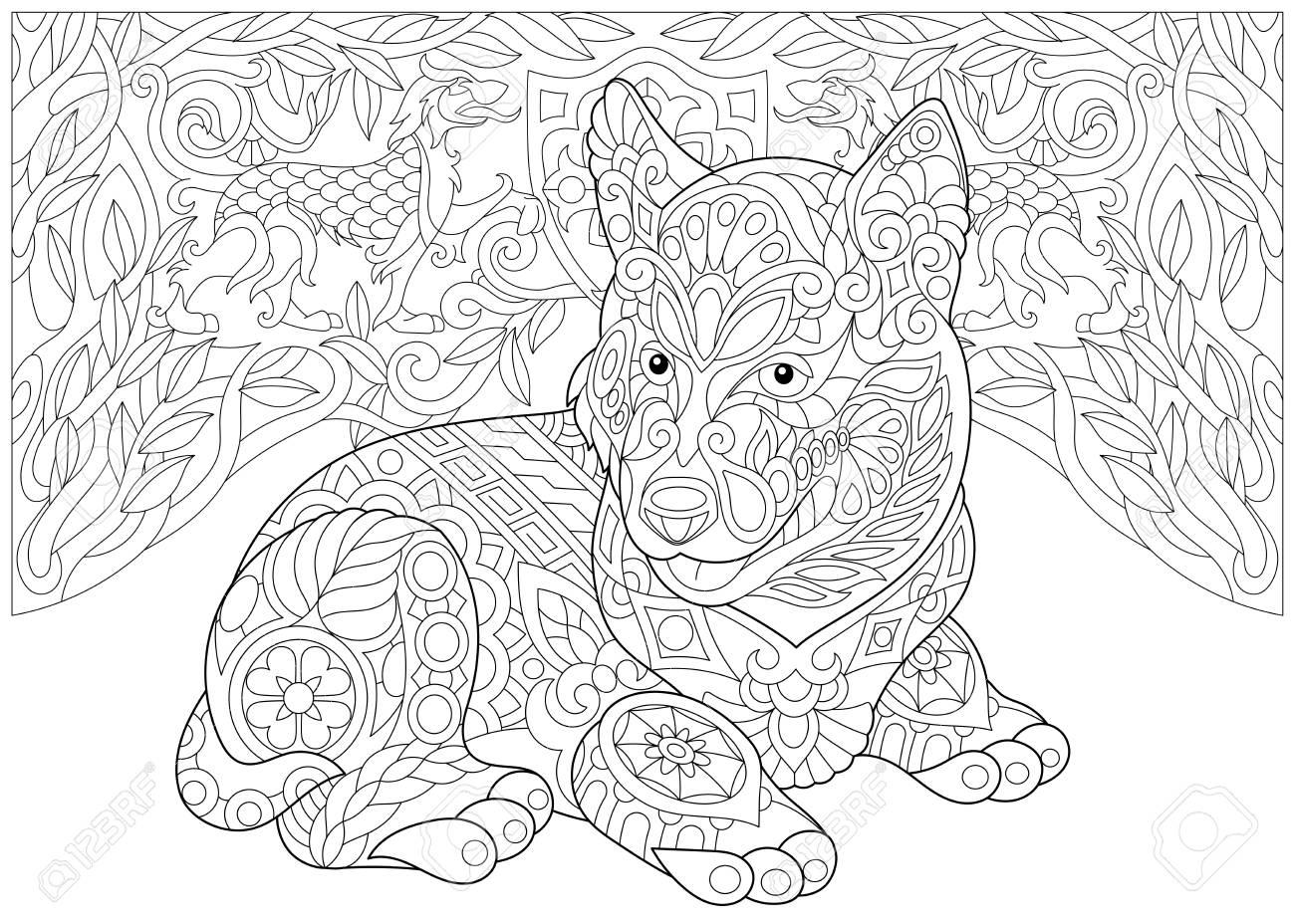Página Para Colorear. Libro De Colorear Para Adultos. Siberian Husky ...