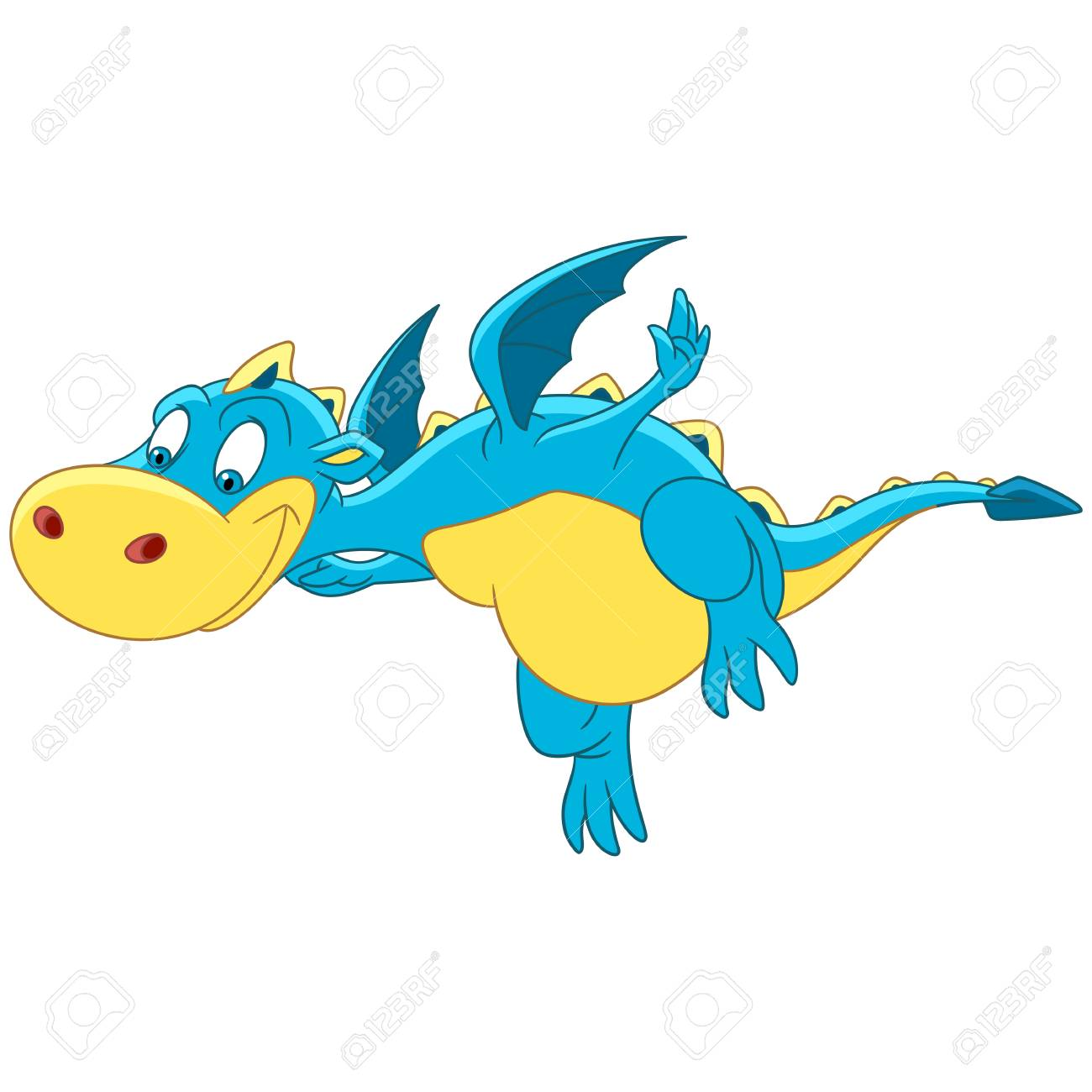 Cartoon Dragon Flying Isolated On White Background Colorful