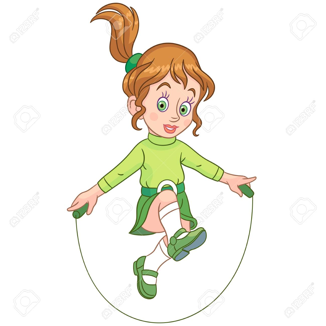 Actividades De Ocio Para Niños. Chica De Dibujos Animados Saltando ...