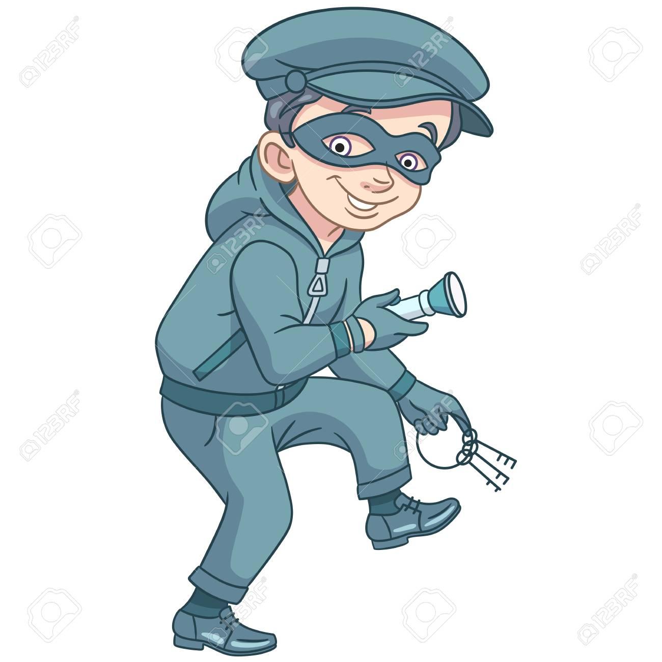 Niños En Profesiones El Criminal De Dibujos Animados Ladrón Con Las Llaves De La Casa O Del Banco Y La Linterna Se Ejecuta De Puntillas Diseño