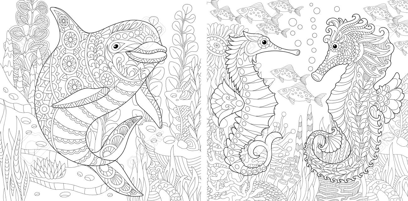 Coloring Page Adult Book Underwater Ocean World Dolphin Among Marine Seaweed