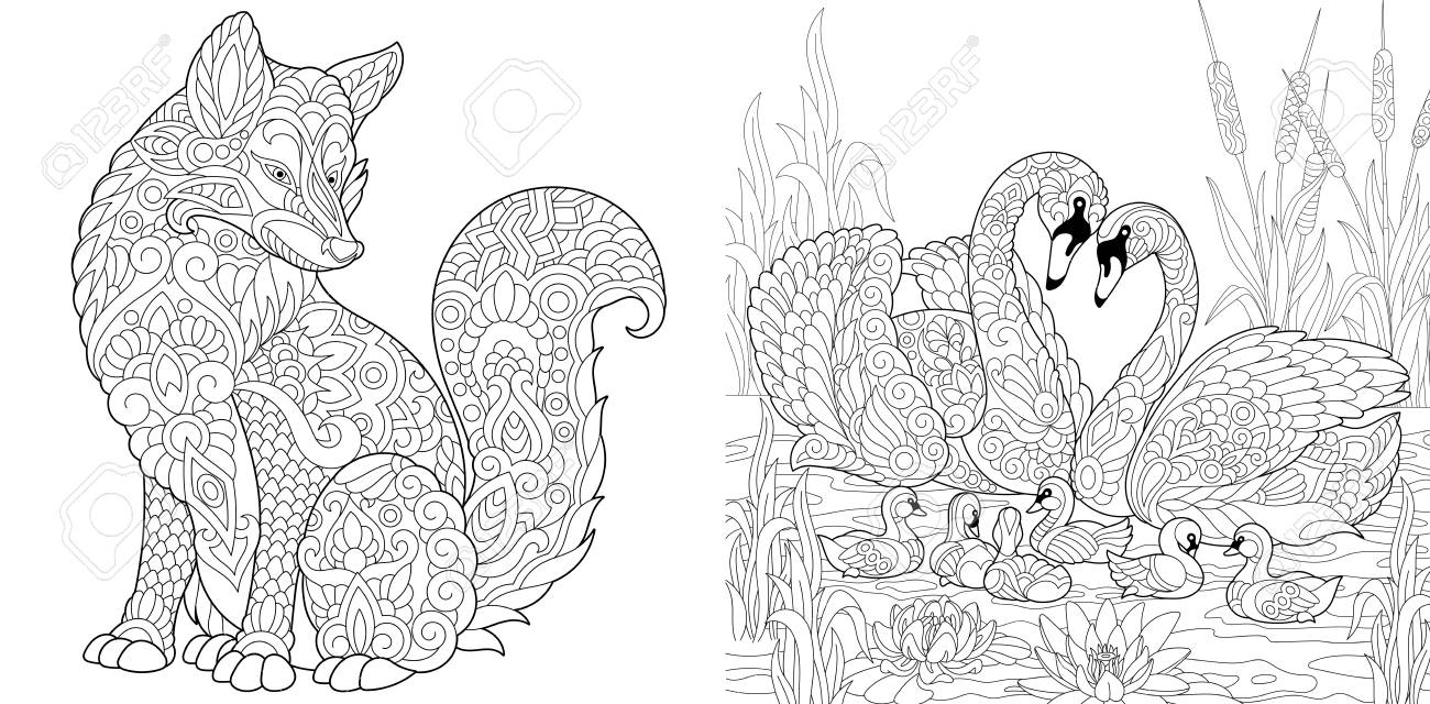 Coloring Page. Adult Coloring Book set. Wild Fox animal. Swan..