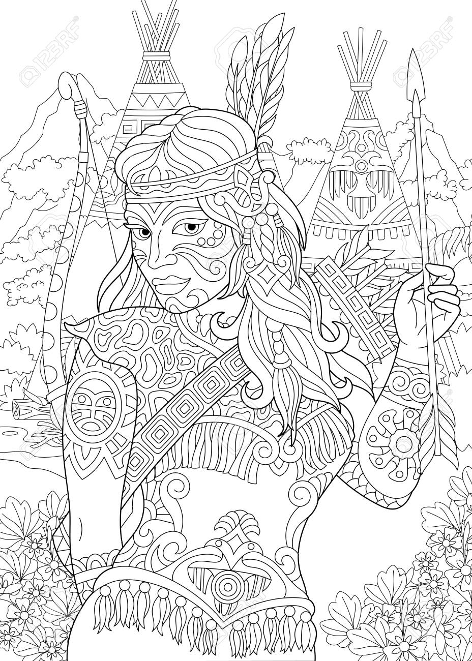 Coloring Page Adult Coloring Book Native American Indian Woman Royalty Free Cliparts Vectors And Stock Illustration Image 94391029