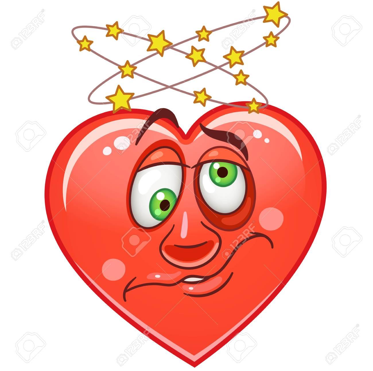 Desenhos Animados Coracao Vermelho Com Tonto Emoticons Risonho