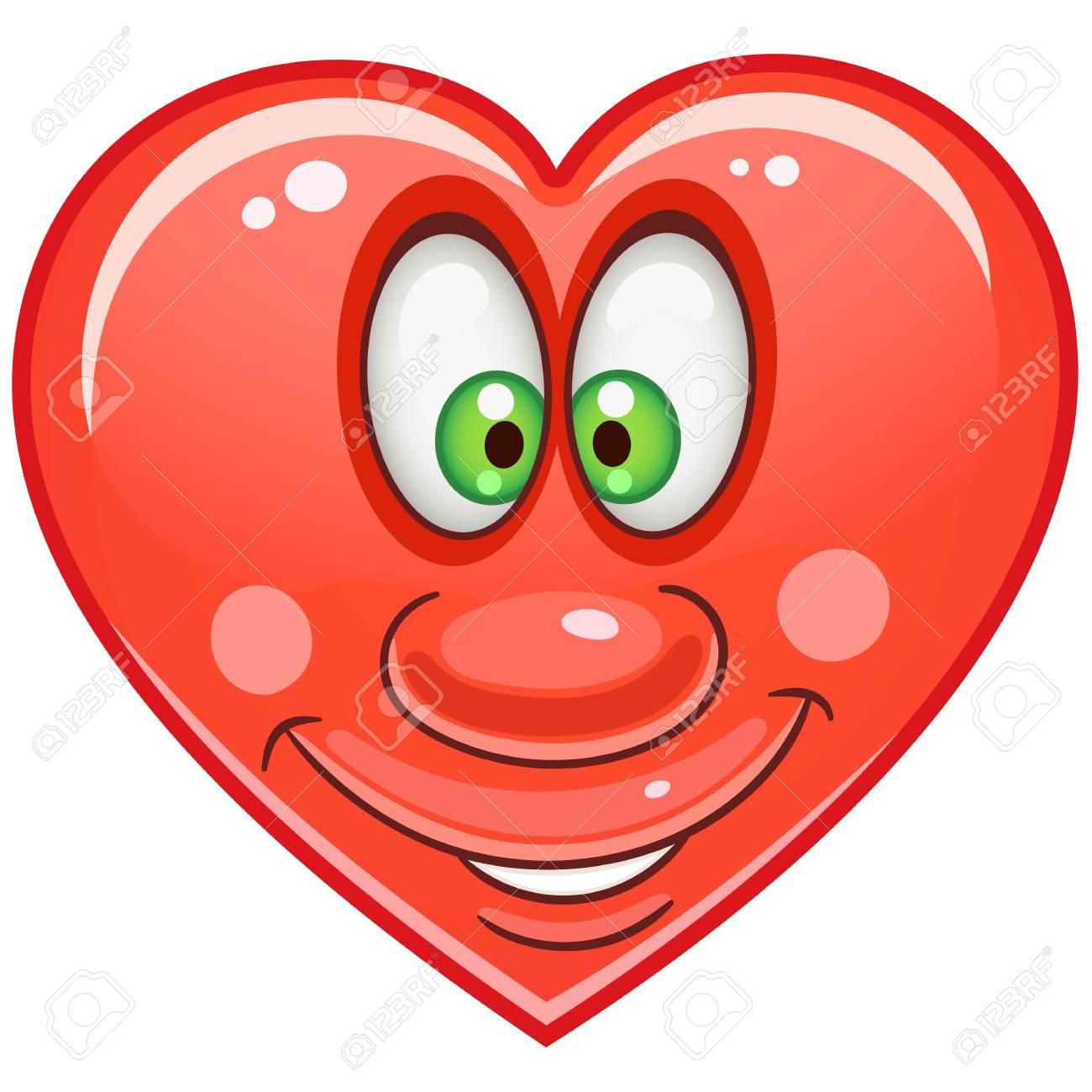 Cartoon Red Heart Emoticons Smiley Emoji Love Emotion Symbol
