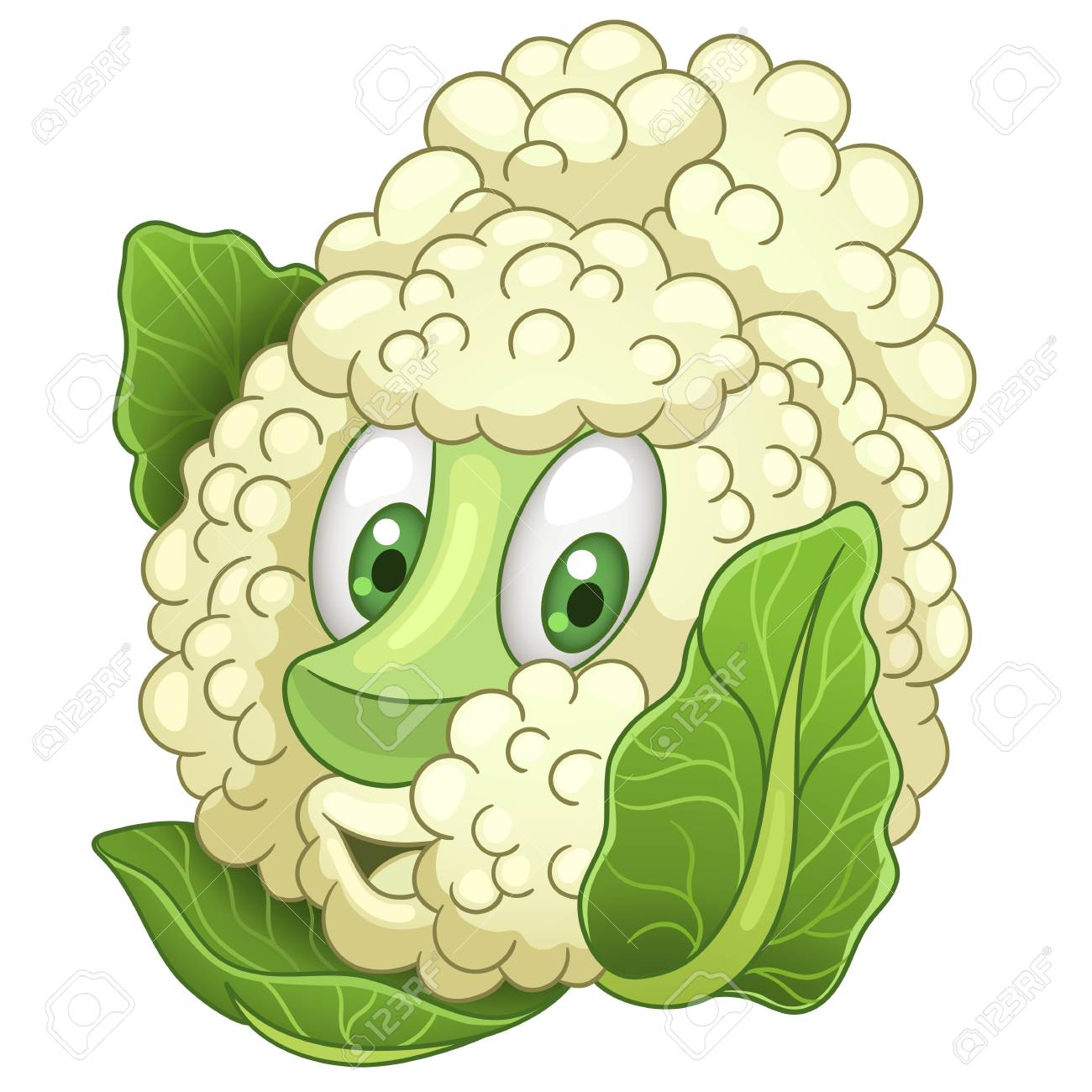 Cartoon Cauliflower Character With Cabbage Sprouts Happy Vegetable Symbol Eco Food Icon Design