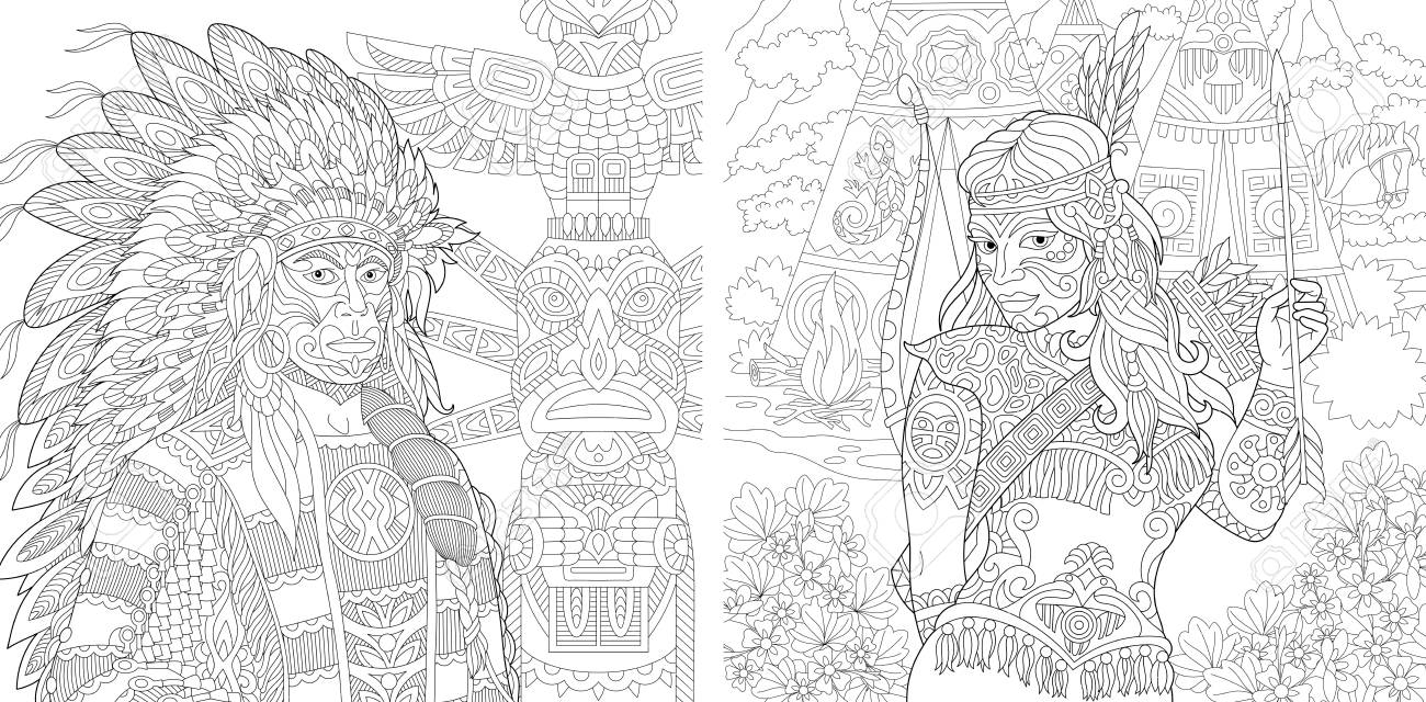 Coloring Page. Adult Coloring Book. Native American Indian Chief ...