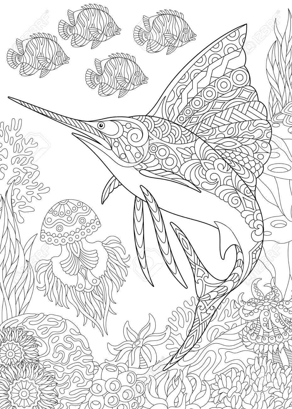 Coloring Page For Adult Book Underwater Background With Sailfish Jellyfish Tropical Fishes
