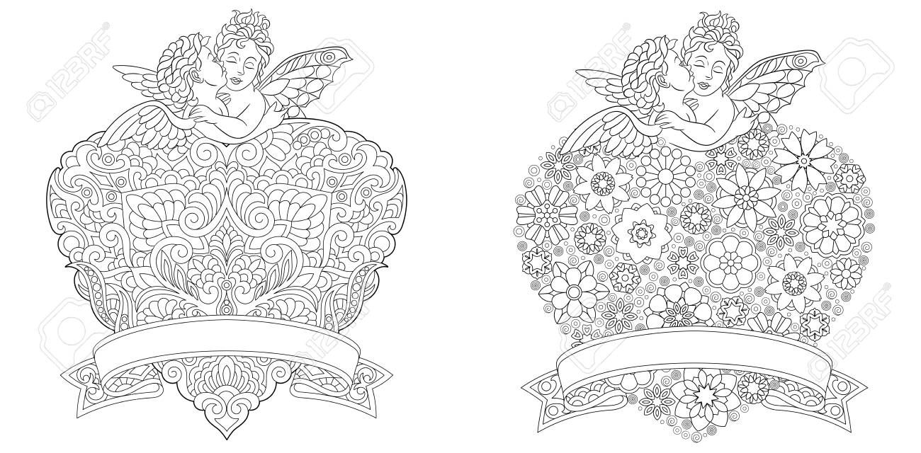 Angel Coloring Page. Heart Template Collection With Abstract ...