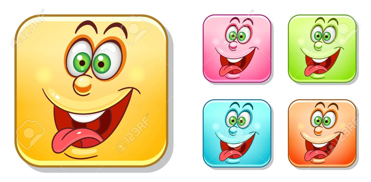 Crazy and silly emoji emoticons collection colorful smiley set avatar symbol for message