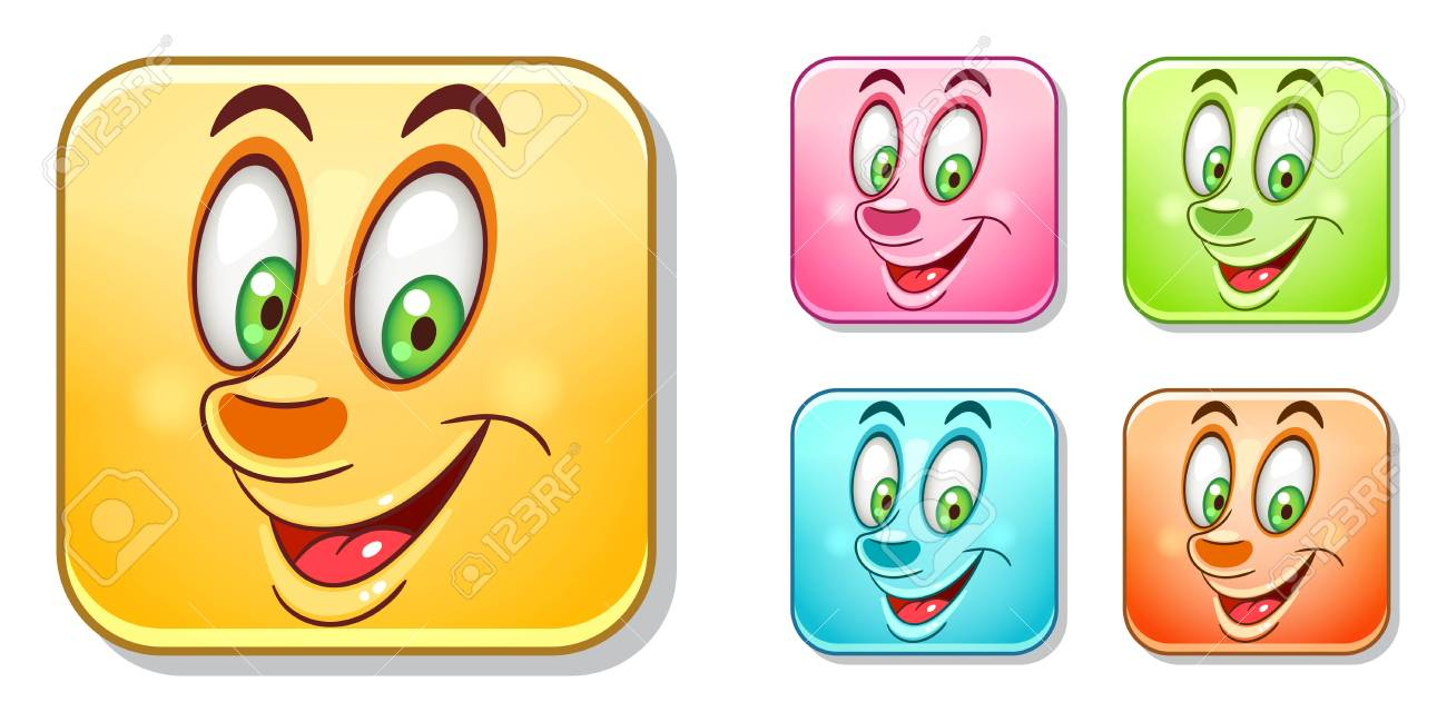 Happy Smiling Emoji Face Emoticons Collection Colorful Smiley