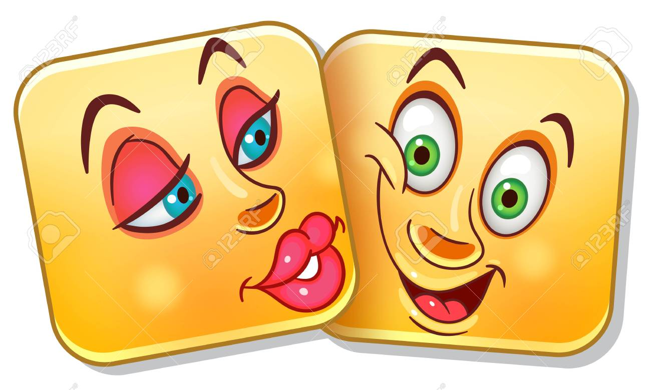 love kiss emoji. valentines day emoticons. colorful smiley couple