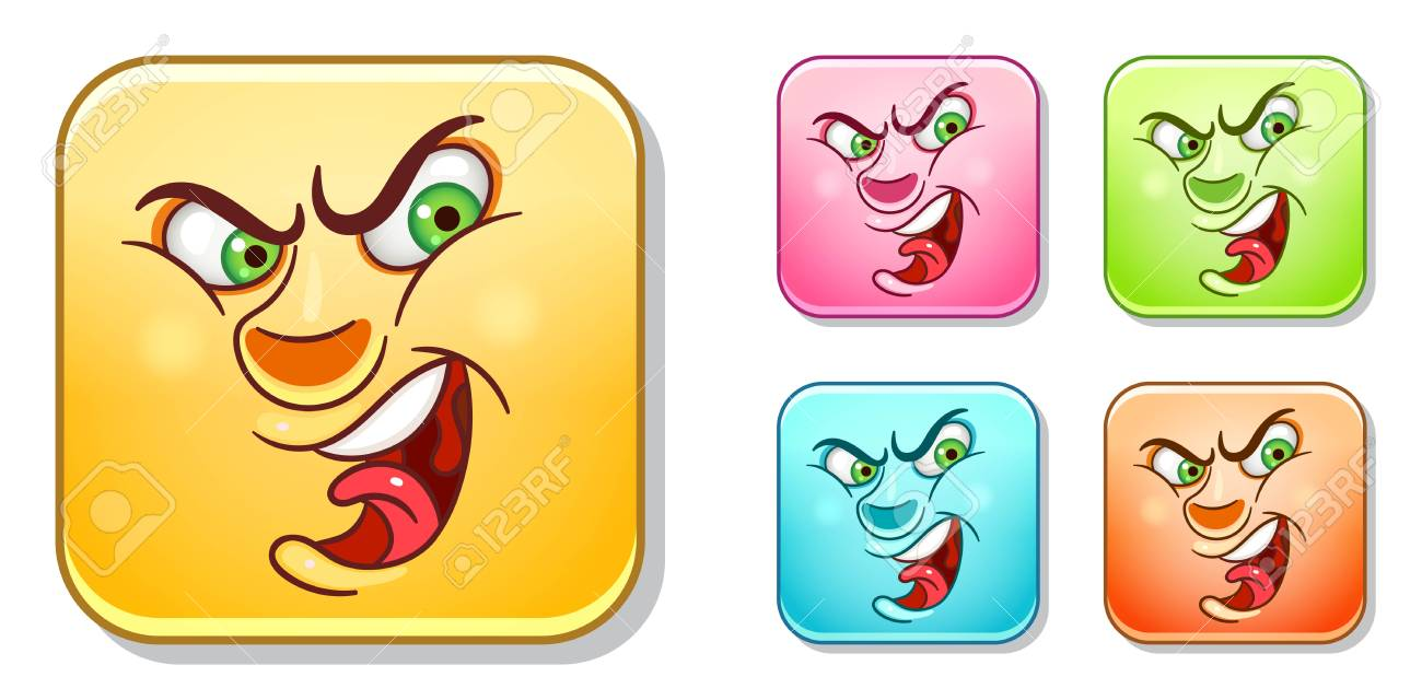 Angry Aggressive Emoji Face Emoticons Collection Colorful Smiley