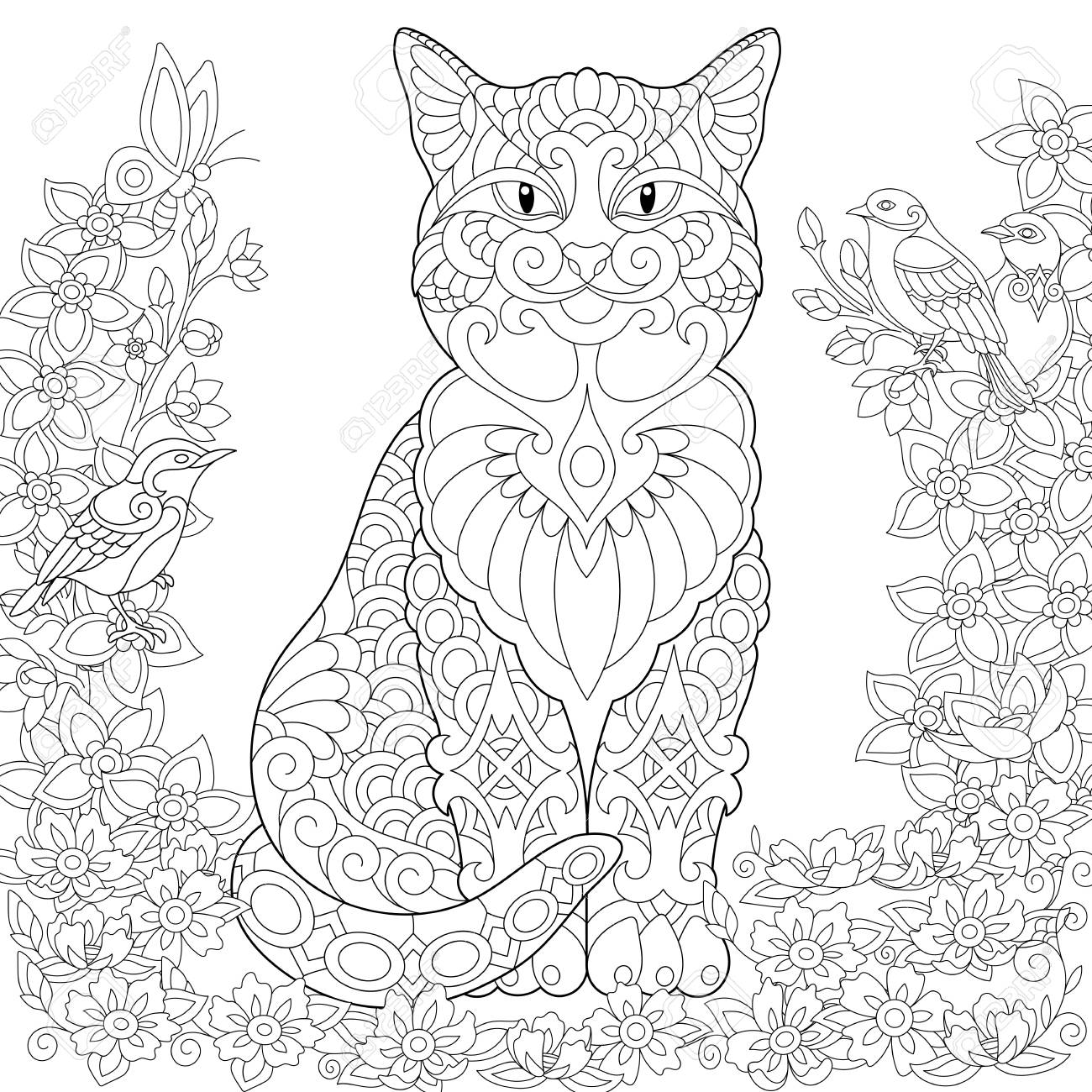 - Cat Coloring Page. Adult Coloring Book Idea. Anti-stress Freehand
