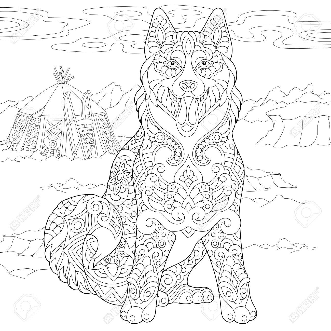 Alaskan Malamute Or Siberian Husky. Eskimo Dog Coloring Page ...