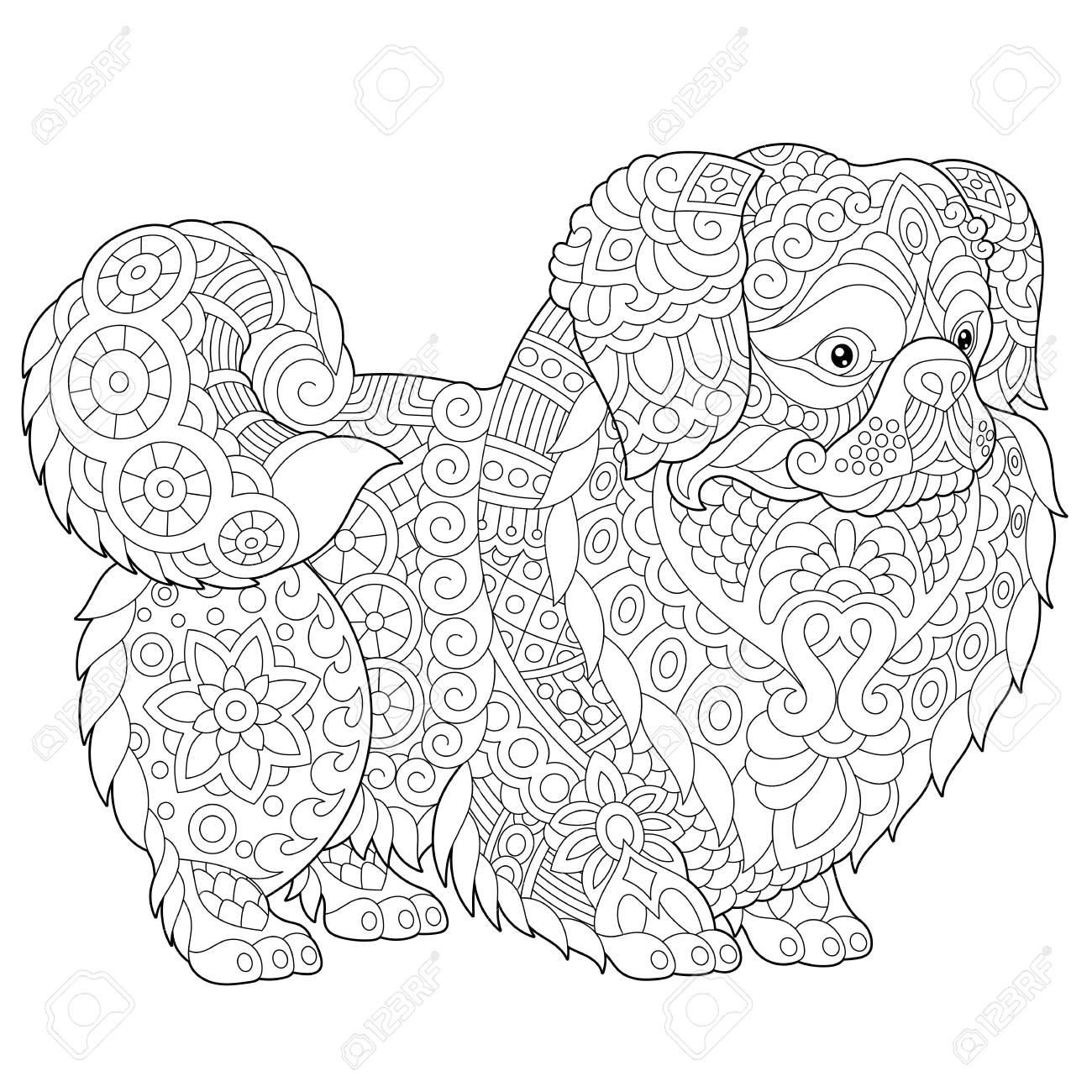 Coloring Pages. Pekingese Or Japanese Chin Dog Breed. Adult Coloring ...