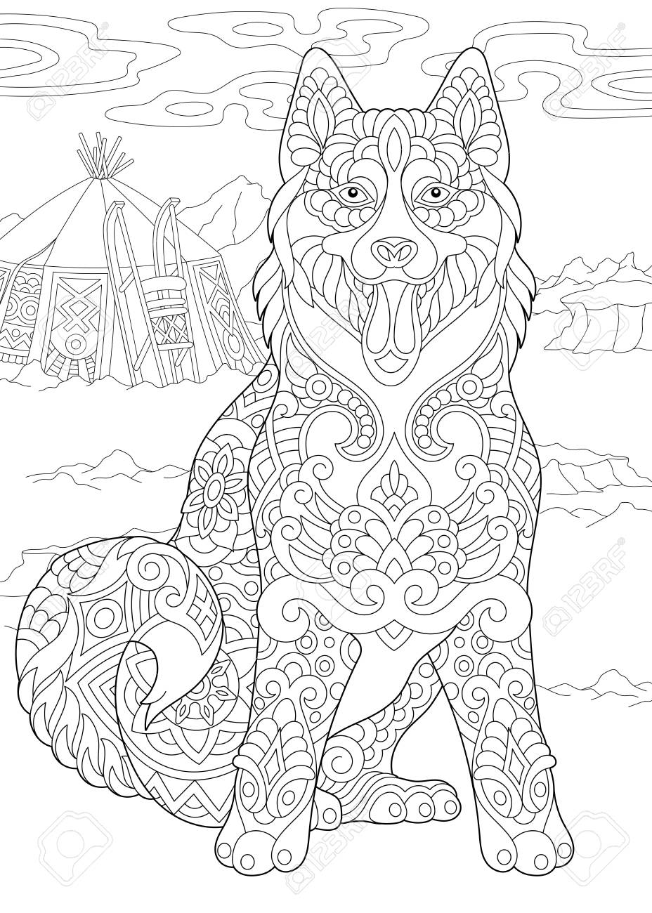 sled dogs coloring pages - Clip Art Library | 1300x928