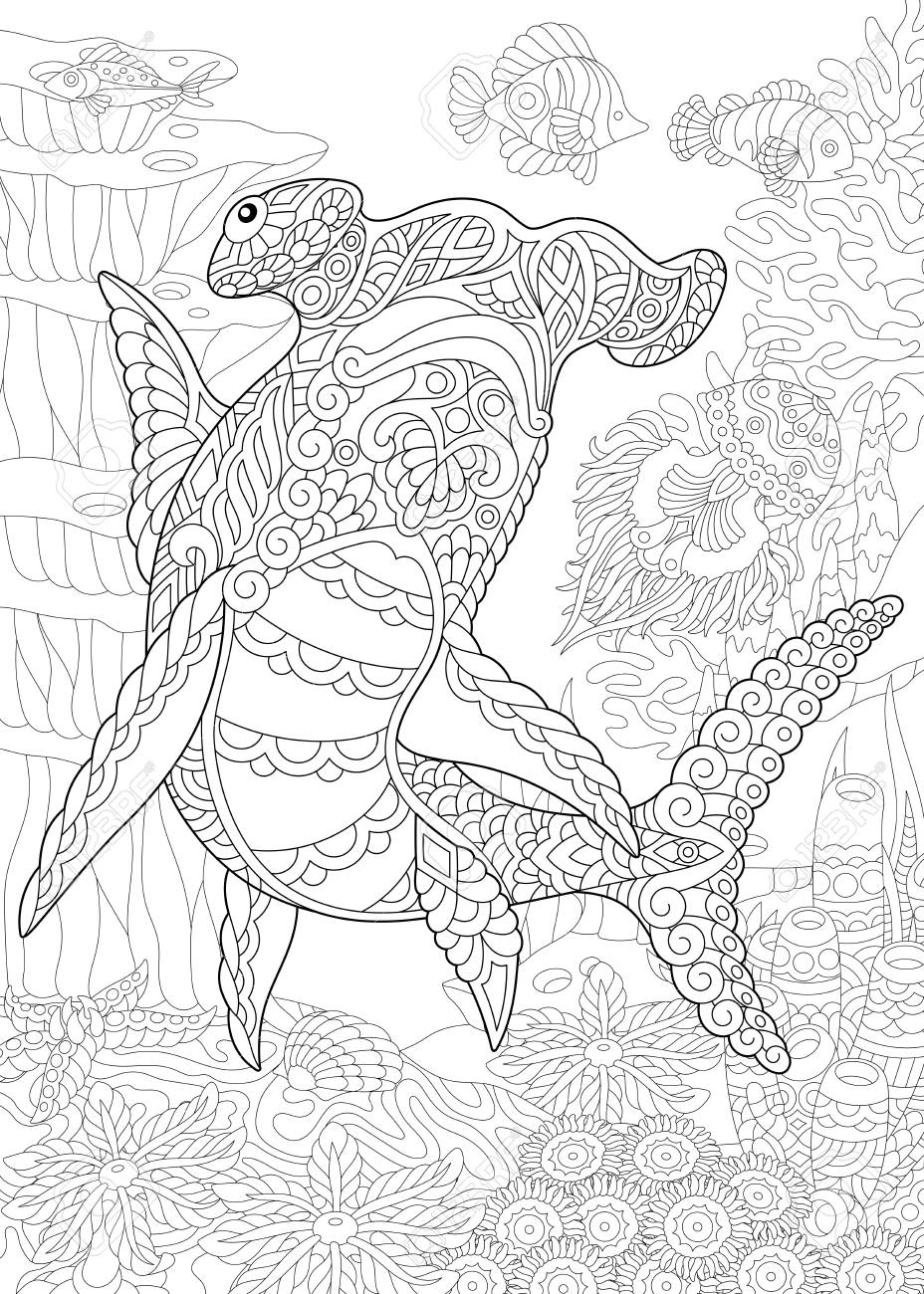 Underwater Background With Hammer Head Shark. Coloring Page ...