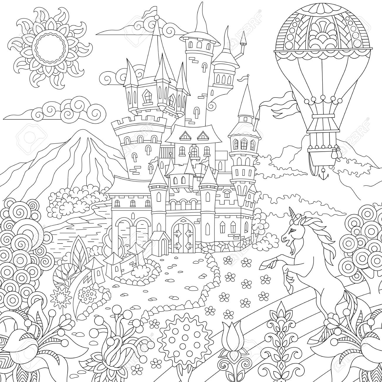 Simple Hot Air Balloon coloring page | Free Printable Coloring Pages | 1300x1300
