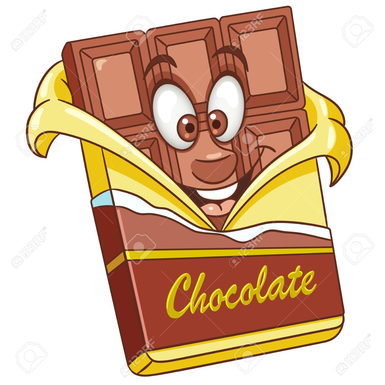 Chocolate bar. Sweet candy food concept. Happy cartoon design..