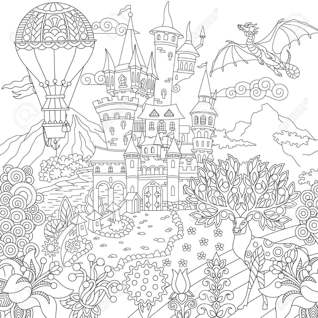 Fairy tale picture. Fairytale landscape with vintage castle,..