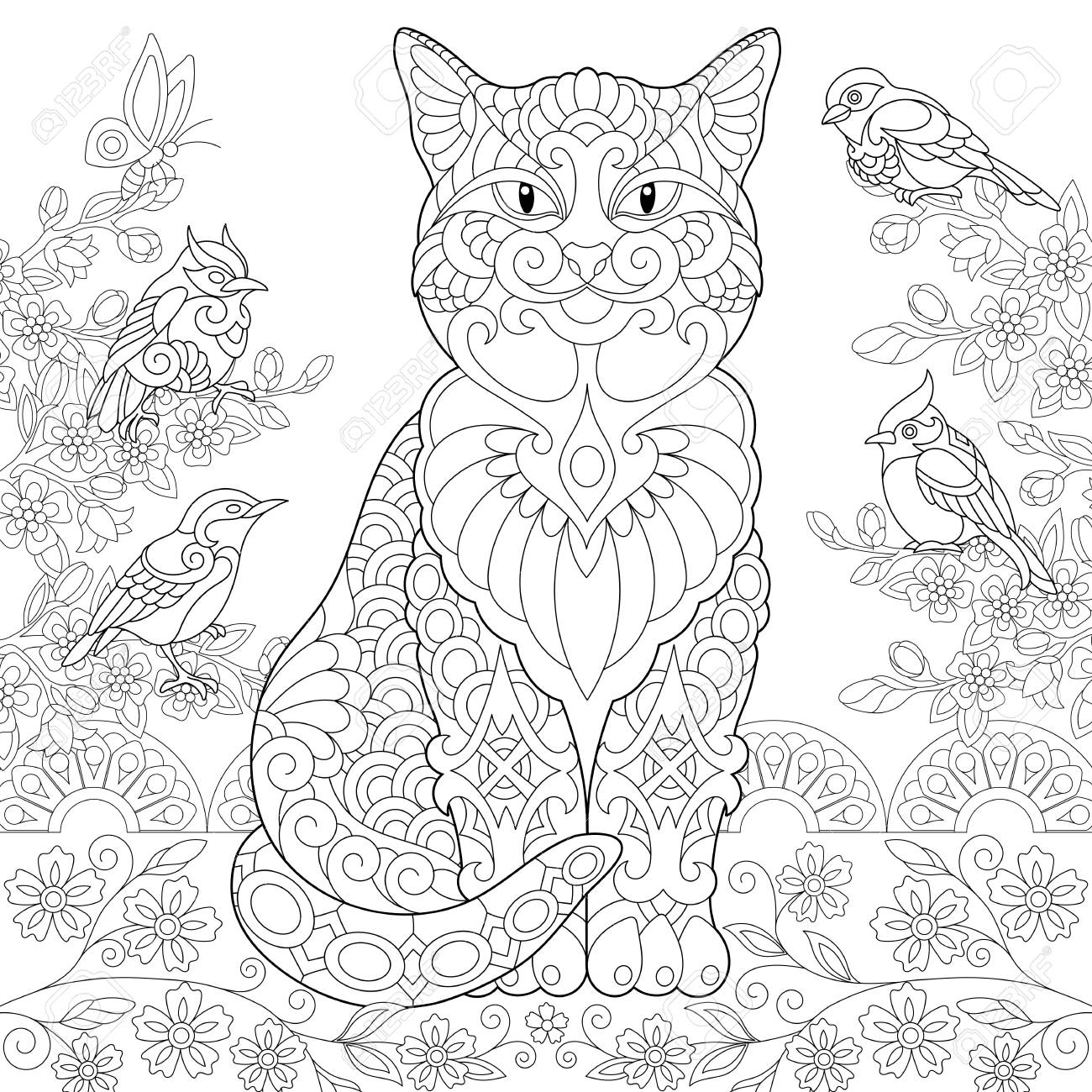 Cat And Spring Birds In The Garden Coloring Page Colouring Picture Adult