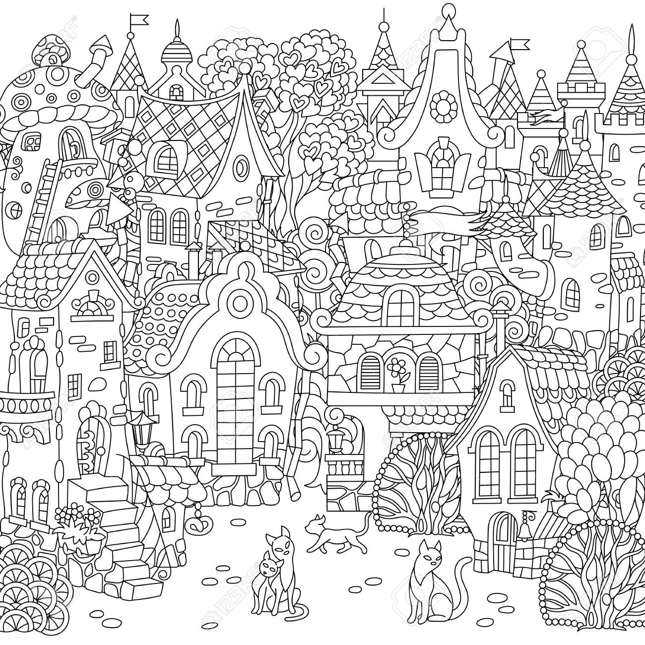 Fairy tale town city landscape fantasy cityscape with vintage houses and cats coloring