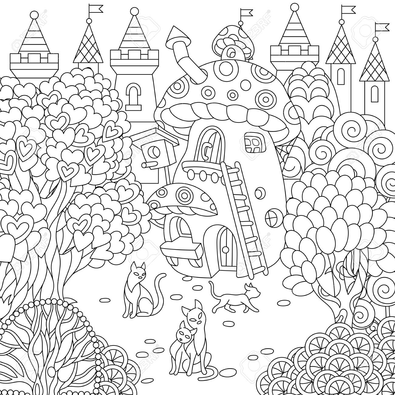 Fantasy town fairytale mushroom house magic heart shaped trees and cats coloring page