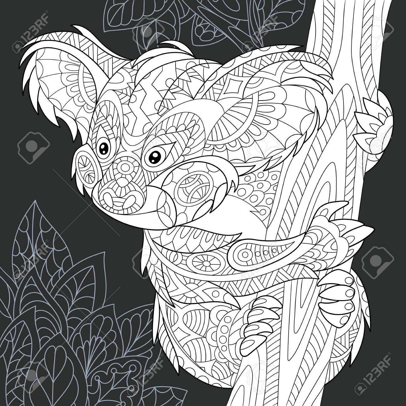 Koala bear drawn in line art style jungle background in black and white colors on