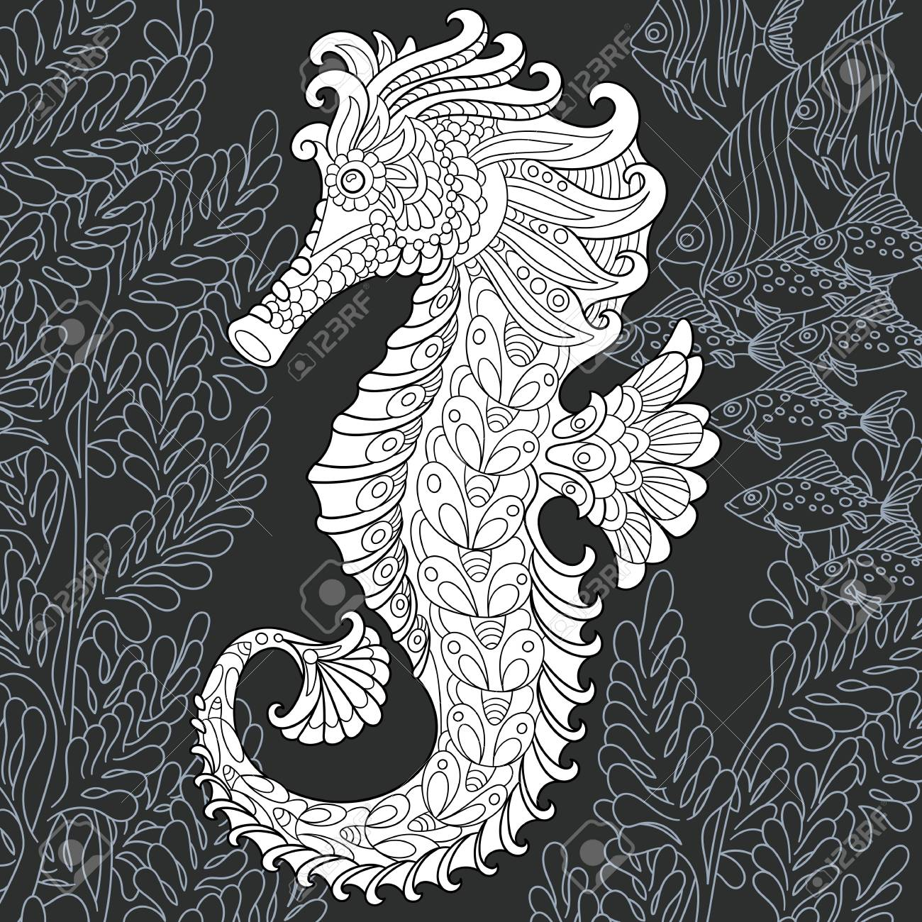 Sea horse drawn in line art style. Ocean background in black and white colors on chalkboard. Coloring book. Coloring page. - 107856843