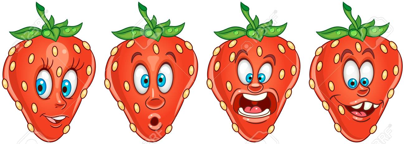Strawberry. Fruit Food Concept. Emoji Emoticon Collection. Cartoon..  Royalty Free Cliparts, Vectors, And Stock Illustration. Image 108815057.