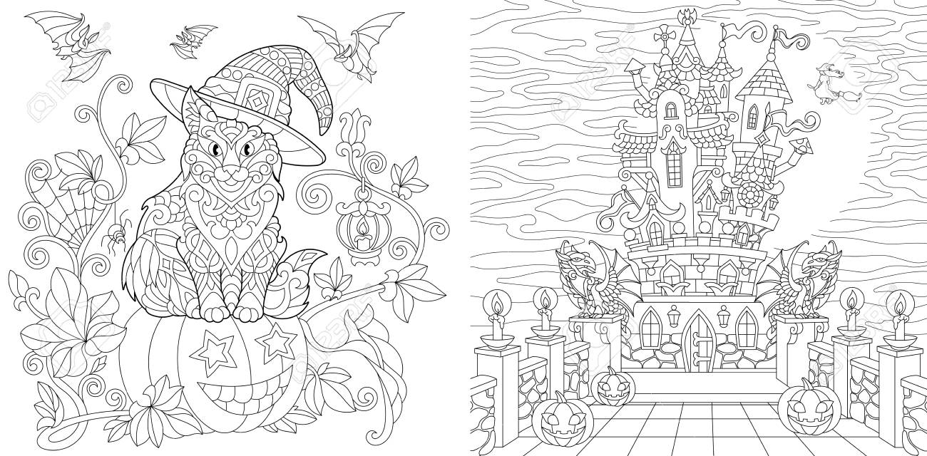 Halloween. Coloring Pages. Coloring Book For Adults. Colouring ...