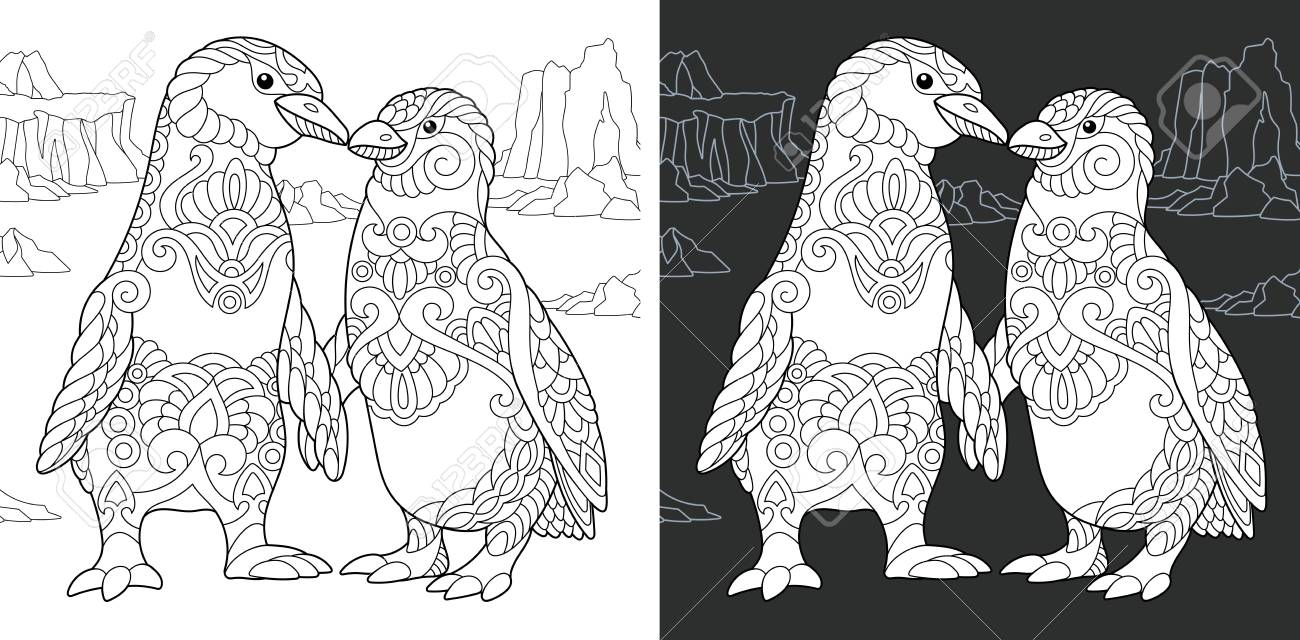 Coloring Page. Coloring Book. Colouring Picture With Penguin Couple ...