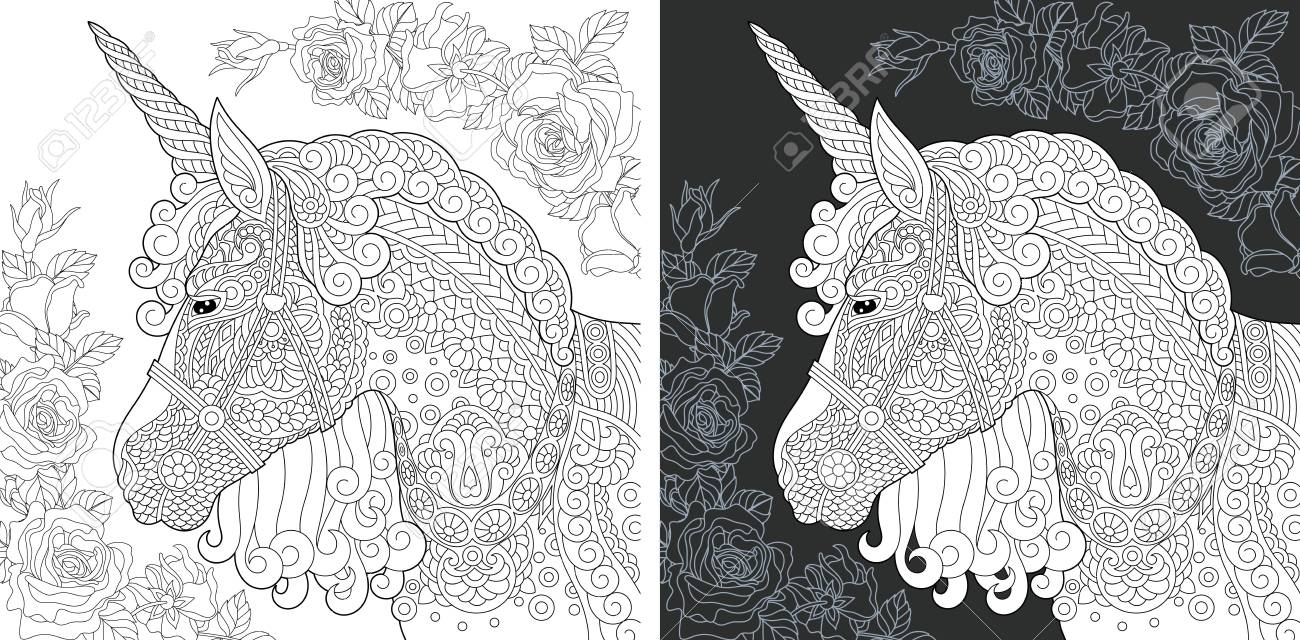 Unicorn. Coloring Page. Coloring Book. Colouring picture with..
