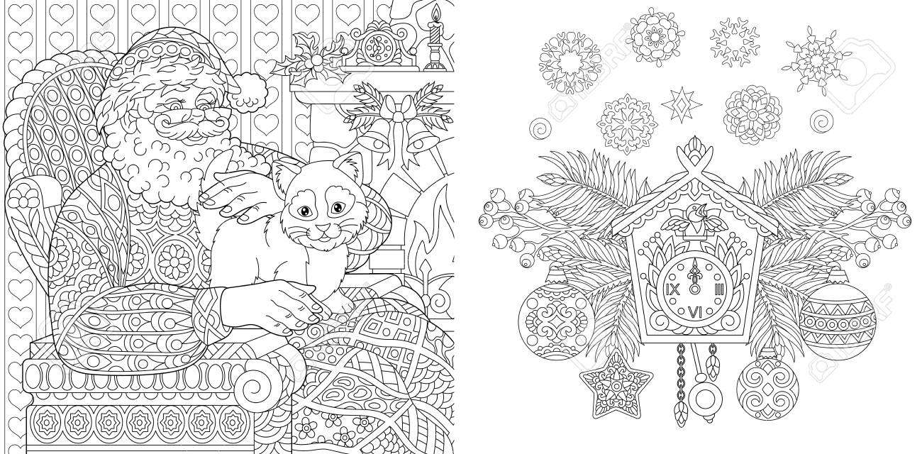- Christmas Coloring Book. Christmas Colouring Pages. Santa Claus