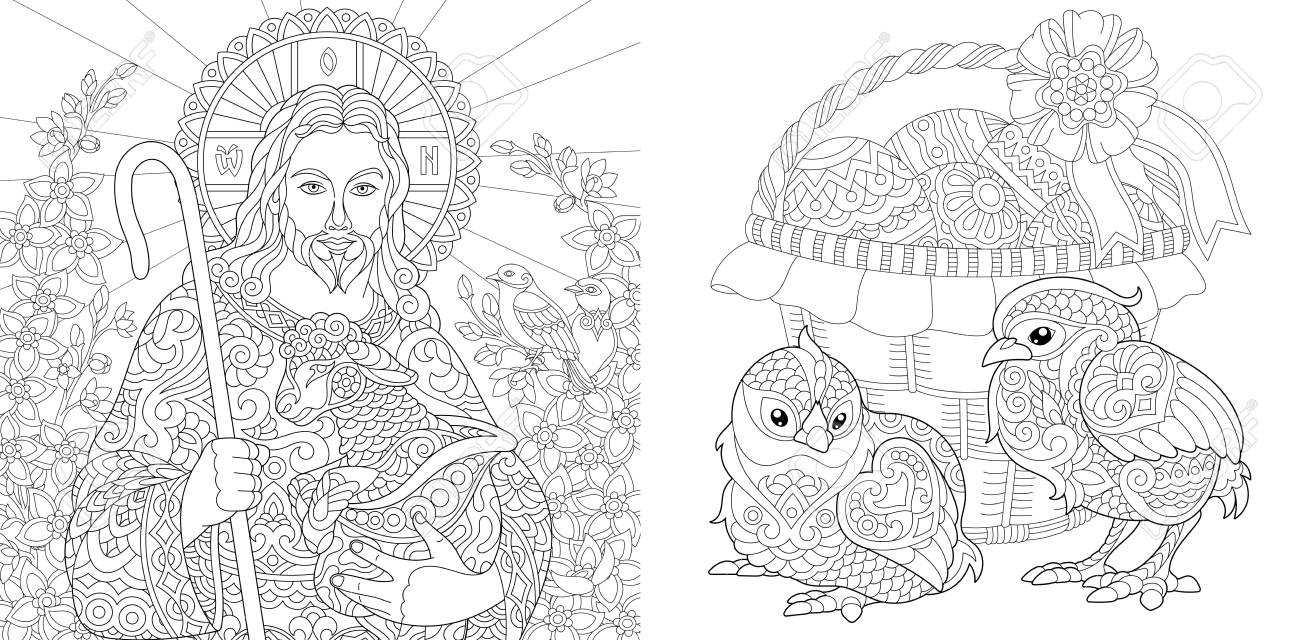 Easter. Coloring Pages. Coloring Book for adults. Colouring pictures..