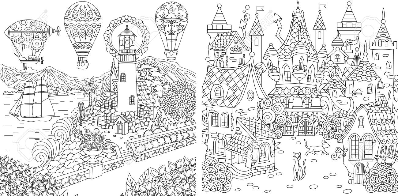 Coloring pages coloring book for adults colouring pictures with light house and fairy tale
