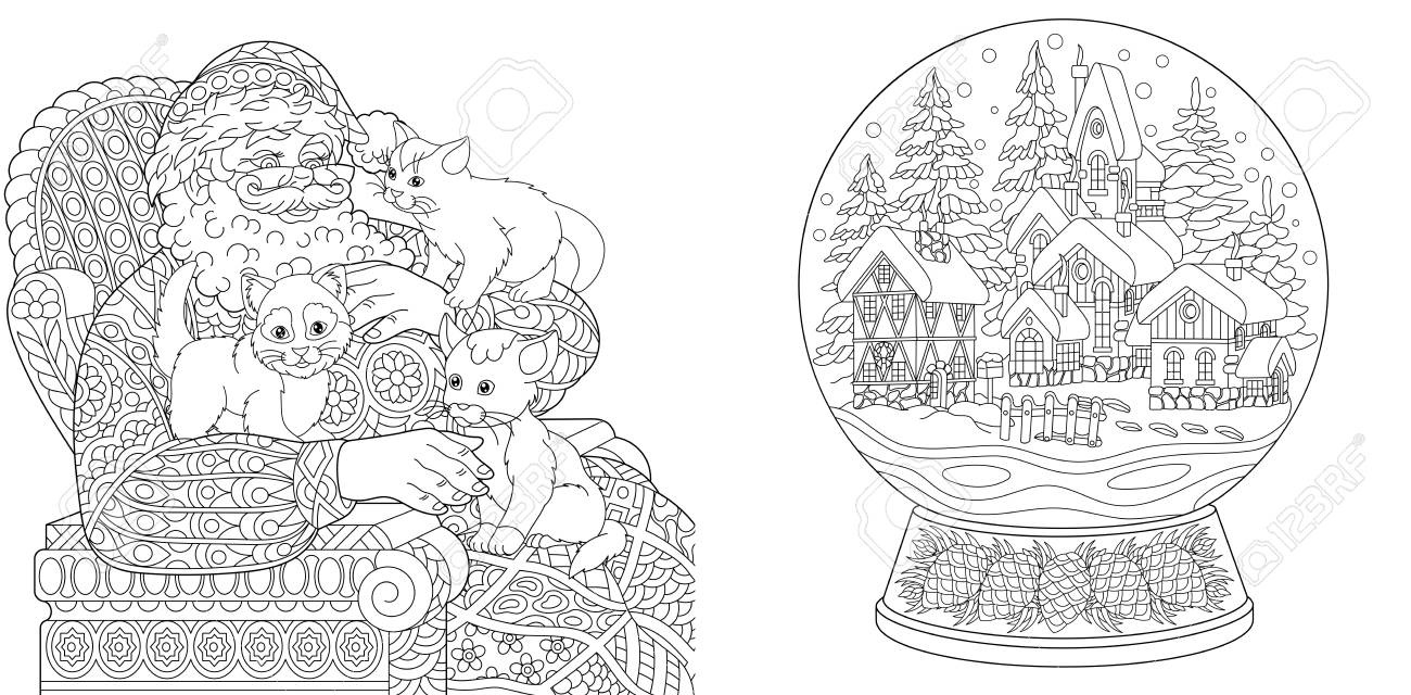 Coloring Pages. Coloring Book for adults. Colouring pictures with Santa Claus and magic snow ball. Antistress freehand sketch drawing with doodle and zentangle elements. - 110955679