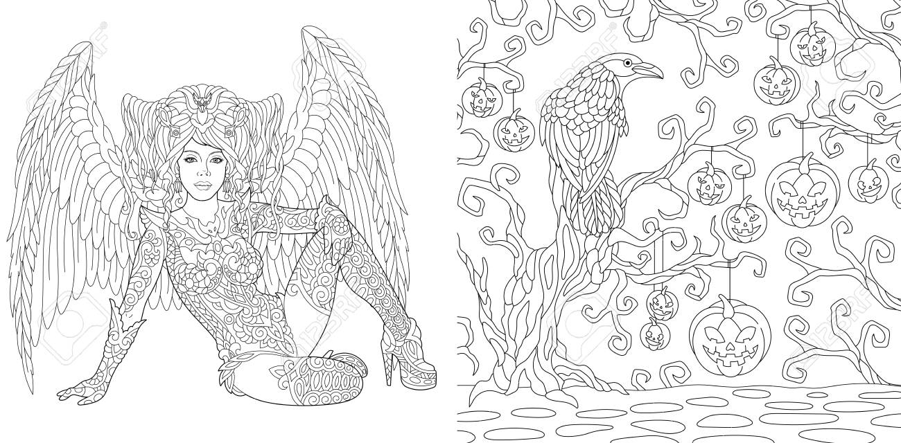 Halloween Coloring Pages Coloring Book For Adults Angel Girl With